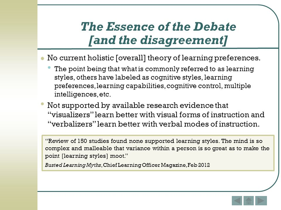The Essence of the Debate [and the disagreement]
